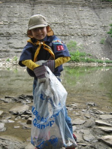 A bagful of trash removed from the watershed. Bonus: the rocks are full of fossils!